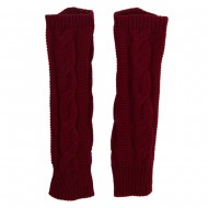 Women's Cable Long Arm Warmer - Burgundy