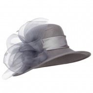 Mesh Bow Accent Wool Dressy Hat - Grey