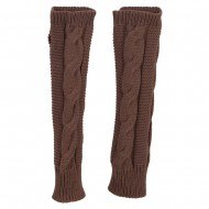 Women's Cable Long Arm Warmer - Taupe