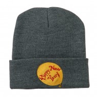 Happy New Year Balloon Embroidered Beanie - Grey