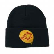 Happy New Year Balloon Embroidered Beanie - Navy