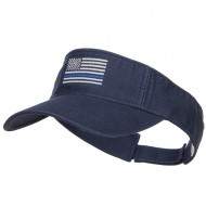 Thin Blue Line USA Flag Embroidered Washed Visor - Navy