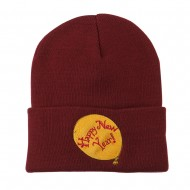 Happy New Year Balloon Embroidered Beanie - Maroon