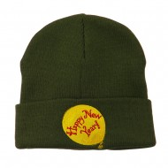 Happy New Year Balloon Embroidered Beanie - Olive