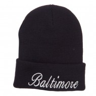 City of Baltimore Embroidered Long Beanie - Black