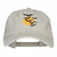 Bats and Moon Halloween Embroidered Washed Cap - Stone