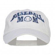 Baseball Mom Embroidered Low Profile Cap - White