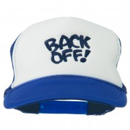 Back Off Embroidered Foam Mesh Cap - Royal White