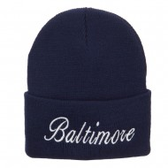 City of Baltimore Embroidered Long Beanie - Navy