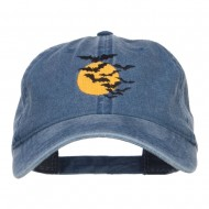 Bats and Moon Halloween Embroidered Washed Cap - Navy