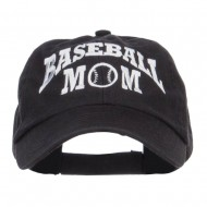 Baseball Mom Embroidered Low Profile Cap - Black