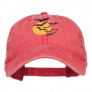 Bats and Moon Halloween Embroidered Washed Cap - Red