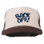 Back Off Embroidered Foam Mesh Cap - Brown Tan