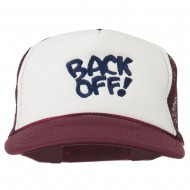 Back Off Embroidered Foam Mesh Cap - Maroon White