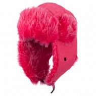 Bright Nylon Faux Fur Trooper Hat - Hot Pink