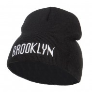 Brooklyn Embroidered Short Beanie - Black