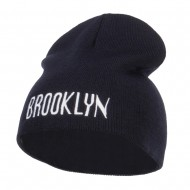 Brooklyn Embroidered Short Beanie - Navy