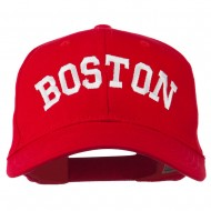 Boston Embroidered Solid Cotton Twill Cap - Red