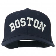 Boston Embroidered Solid Cotton Twill Cap - Navy
