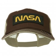 Black NASA Big Size Garment Washed Mesh Patched Cap - Brown Beige