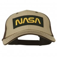 Black NASA Big Size Garment Washed Mesh Patched Cap - Khaki Brown