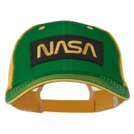 Black NASA Big Size Garment Washed Mesh Patched Cap - Kelly Gold