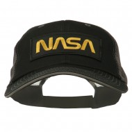 Black NASA Big Size Garment Washed Mesh Patched Cap - Black Grey