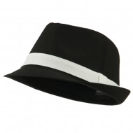 Basic Poly Woven Fedora Hats - Black White