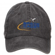 Space Cadet Embroidered Washed Cap - Black
