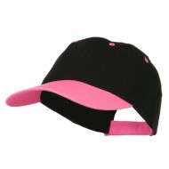 6 Panel Light Weight Two Tone Brushed Cotton Twill Cap - Black Neon Pink