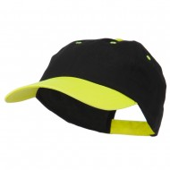 6 Panel Light Weight Two Tone Brushed Cotton Twill Cap - Black Neon Yellow