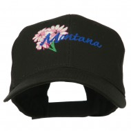 USA State Montana Bitter Root Embroidered Low Profile Cap - Black