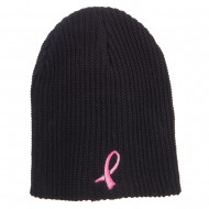 Ribbon Breast Cancer Embroidered Ribbed Oversize Beanie - Black