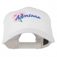 USA State Montana Bitter Root Embroidered Low Profile Cap - White