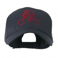Mountain Biker Outline Embroidered Cap - Navy