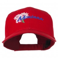 USA State Montana Bitter Root Embroidered Low Profile Cap - Red