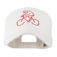 Mountain Biker Outline Embroidered Cap - White