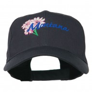 USA State Montana Bitter Root Embroidered Low Profile Cap - Navy