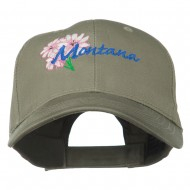 USA State Montana Bitter Root Embroidered Low Profile Cap - Olive