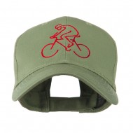 Mountain Biker Outline Embroidered Cap - Olive