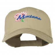 USA State Montana Bitter Root Embroidered Low Profile Cap - Khaki