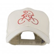 Mountain Biker Outline Embroidered Cap - Stone