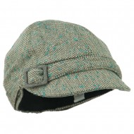 Muffy Square Buckle Cabbie Cap - Turquoise