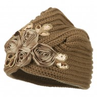 Flower Sequins Knit Turban - Camel