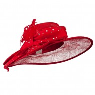 Large Bow Sequin Accent Sinamay Hat - Red