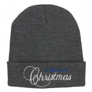 A Blessed Christmas Embroidered Long Beanie - Dk Grey