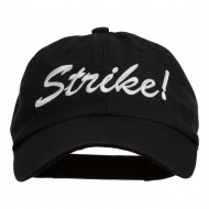 Bowling Strike Embroidered Low Profile Washed Cap - Black