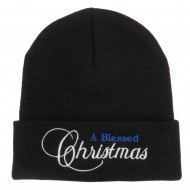 A Blessed Christmas Embroidered Long Beanie - Black