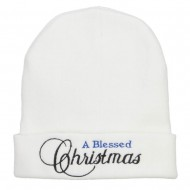 A Blessed Christmas Embroidered Long Beanie - White