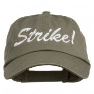 Bowling Strike Embroidered Low Profile Washed Cap - Olive